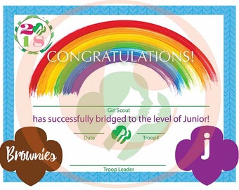 Girl Scout Bridging Certificate - Brownie to Junior