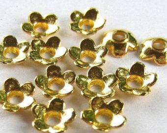 50 Gold bead caps beadwork supply 6mm x 6mm  no lead KOPC