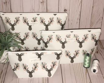 White Fawn with Mint Green Triangle Wide Open Cosmetic bag set/ Travel Bags/ Gym Bags