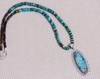 Turquoise Necklace with Sterling Silver & Turquoise Pendant