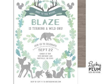 Woodland Birthday Invitation / Wild One Birthday Invitation / Boy First Birthday Invitation / Greenery Green Animal Bear Fox Deer *Digital