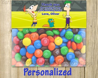Phineas and Ferb Favor Tag , Phineas and Ferb Thank You Tags toppers, Personalized, Digital File