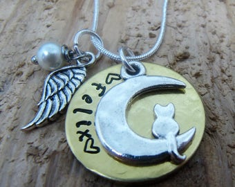 Cat memorial necklace,loss of cat,hand stamped necklace,jewelry,sympathy gift,Death of cat,Kitty memorial necklace, Memorial necklace