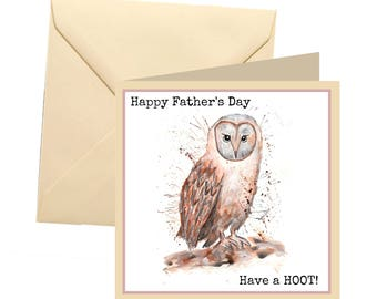 Fathers day card, owl fathers day, joke dad card, dad greetings card, father card, dad card