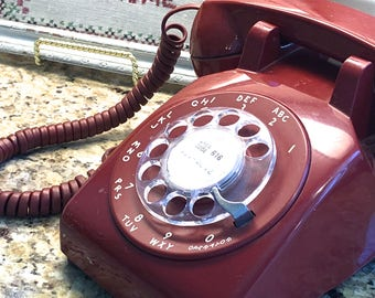 Vintage Rotary Dial Cherry RED Telephone Made by Western Electric for Bell System AT&T