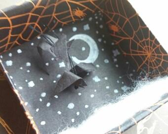 Miniature Halloween diorama, flying bats shadow box, miniature bats at night diorama box, tiny Halloween decoration, mixed media Boo box