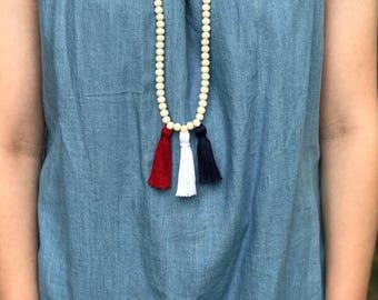 Wooden Bead Tassel Necklace, Beaded Tassel Necklace, Tassel Necklace, Wood Bead Tassel Necklace,Custom Beads
