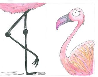 Alice in Wonderland series - Flamingo print A4