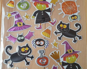 Clearance Sale / Sticker Sale / Halloween Witch and Black Cat Sticker Sheet
