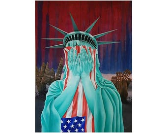 Black Friday Special 500 off! Original oil on canvas - award winning art work, liberty weeps for her lost souls,