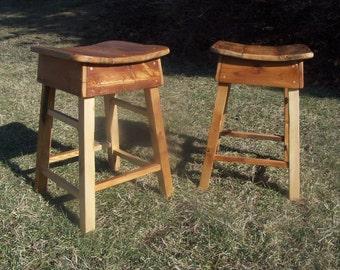 Primitive Style Reclaimed Wood Saddle Stools