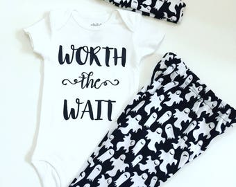 Newborn Halloween Outfit, Worth The Wait  Baby Outfit, Coming Home Outfit, Baby Shower Gifts, Take Home Outfit, Take Baby Home Outfit