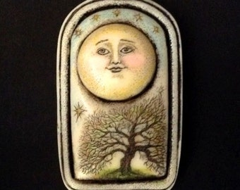 Moon tree scrimshaw technique resin pin
