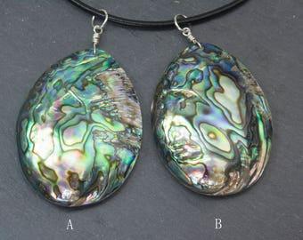 natural abalone shell jewelry pendant, natural green purple shell necklace, handmade paua shell necklace, oval shell jewelry