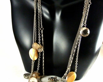 Four Strand Chain Necklace with Beads Silver Disks Rhinestone and Agate Stone Vintage 80 Necklace Loft Chain Necklace 30 Inch Necklace
