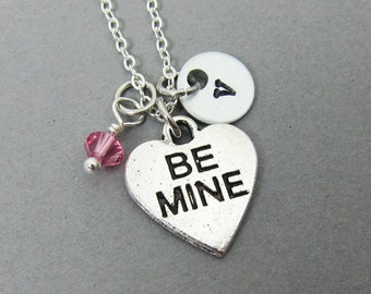 BE MINE Heart Necklace - Personalized Handstamped Initial Name, Customized Couples Valentine's Necklace