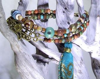 Hand Bracelet Protection Bracelet Bohemian Bracelet Protective Hand Brown Blue Beaded Bracelet Gypsy Bracelet Boho Tassel Bracelet Hand Gift
