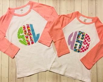 Monogram Shirt, Personalized Shirt, Circle Monogram Birthday Shirt for Babies, Toddlers, Girls