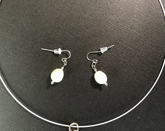 Cross and Freshwater Pearl Necklace and Earrings