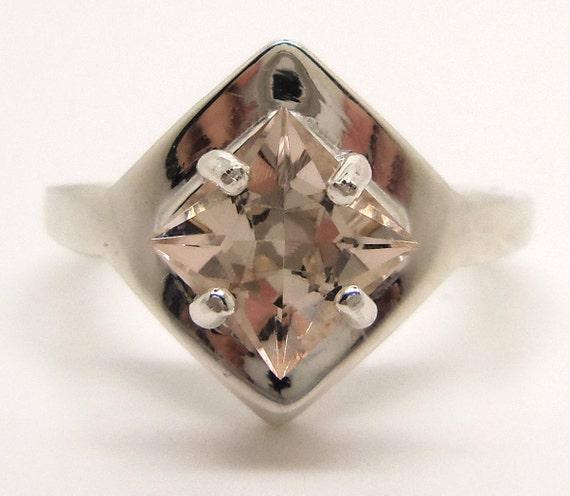 2.05 Carat Light Brown Topaz Gemstone Ring Size 7 Sterling Silver Hand Cut Gem