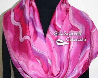 Silk Scarf Handpainted. Pink, Violet Hand Painted Shawl. Handmade Silk Wrap SWEET DREAMS. Large 14x72. Birthday, Mother Gift. Gift-Wrapped