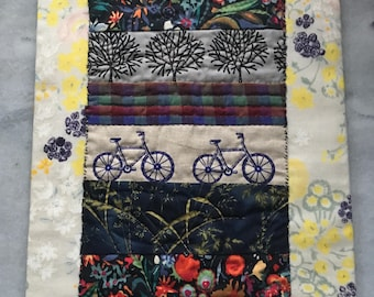 Textile art, bike art, fiber art, mini quilt, OOAK, handmade gift for cyclist, bicycle art, biking