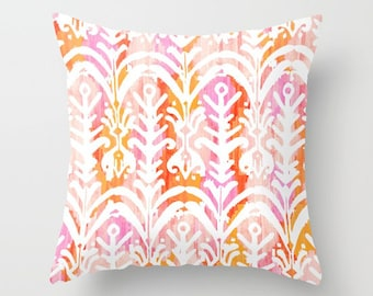 Pink Ikat Pillow Preppy Throw Pillow Cover Pink Orange Boho Ikat Accent Pillow Palm Springs Tropical Home Decor Gifts Under 40 Pastel Ikat