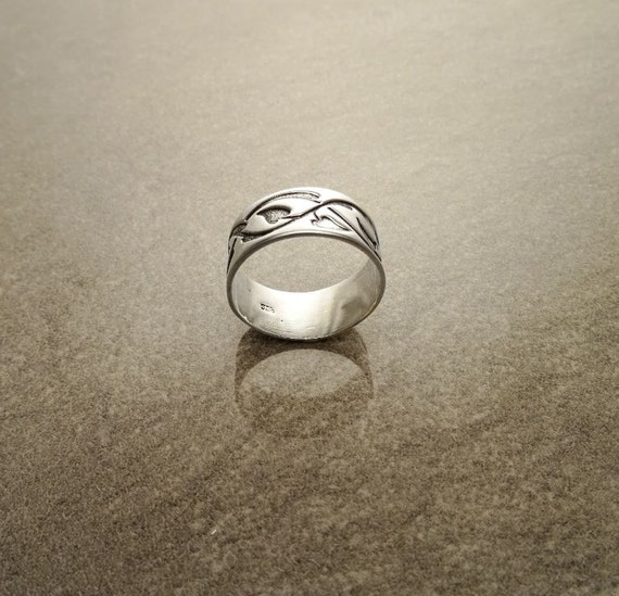 Sterling Silver Band Ring, with Black engraved Tribal Leafs Tattoo Pattern. Unique Handmade Thumb Ring. Tribal Style Band Ring.