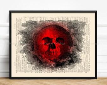 Dark Moon, Moon Skull, Mystery Wall Art, Blood Moon, Stocking Stuffer, Horror Party Decor, Full Moon Art Print, Cool Halloween Gift 517