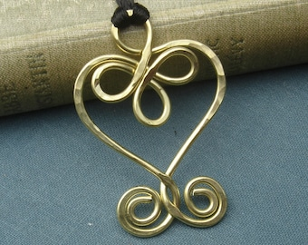 Celtic Heart Brass Necklace, Heart Pendant, Celtic Jewelry, Heart Necklace, Celtic Knot Gift for Her Heart Jewelry Women, Mom