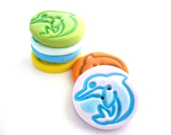 Dolphin buttons - polymer clay buttons - dolphin textured buttons handmade with polymer clay