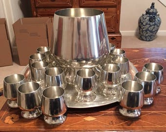 vintage Banka Tin Punch Bowl set with 18 cups from Banka Indonesia ~ collectible ~ wedding and party service ~  gift giving ~ wedding gift