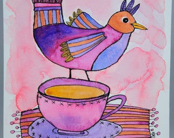 ORIGINAL Morning Cuppa, Bird, Tea Cup, Coffee Cup Watercolor Painting