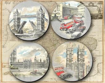 Coasters, London, England, Gift, Coaster, Hostess, Man Gift, Vacation - (0044)