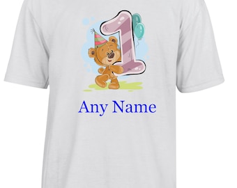 Personalised 1st Birthday T Shirt  *Choice of name colours*