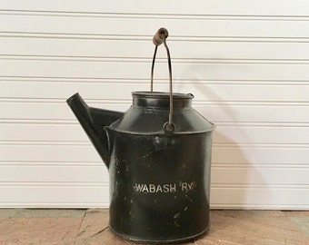 Antique Wabash Railroad Kerosene Can-Wabash Railroad-Railroad Metal Can-Railroad Memorabilia-Train Collectible