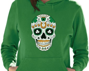 St. Patrick's Day Irish Sugar Skull - Women's Hoodie