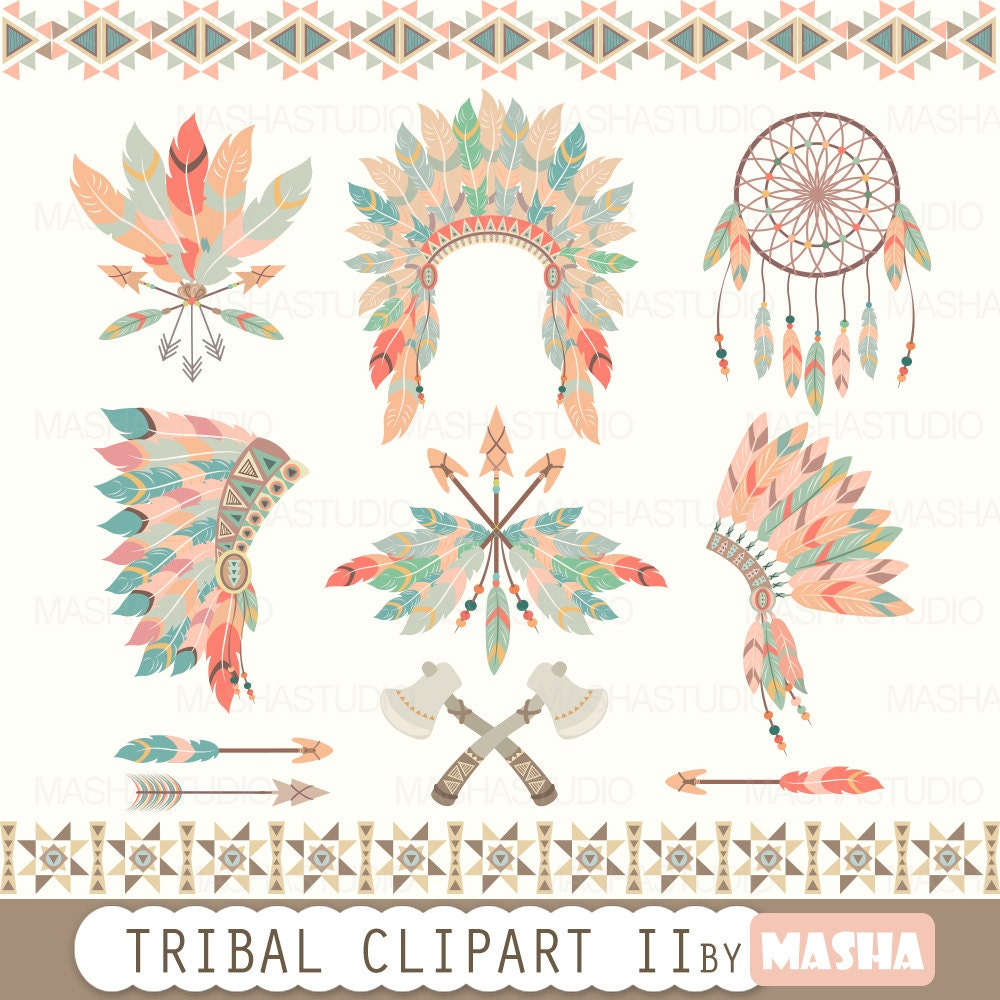 tribal clipart tribal clipart ii with feather rh etsy com tribal clipart design tribal clip art borders