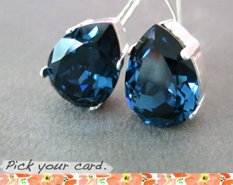 Ourania - Simple Swarovski Crystal Teardrop Earrings, Montana Blue Crystal Earrings, Silver plated, brides bridesmaid bridal simple earrings