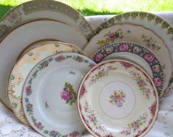 Mismatched Plate Set. Vintage Floral China. Shabby Chic Wall Collage. Tea Party Dishes Bridal Shower Antique Dinnerware. Salad Dessert : shabby chic dinnerware - pezcame.com