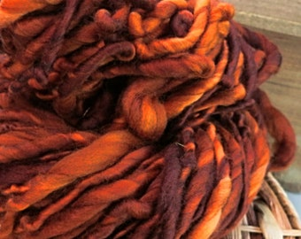 Handspun Art Yarn - Superwash Merino Wool - Bulky Weight Single Ply - OOAK Artisan Yarn - Sandalwood