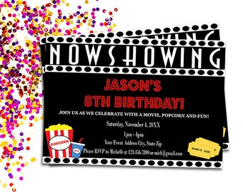 Movie Birthday Party Invitation, Printable Now Showing Movie Night Invite, Personalized Backyard Movie Invitations DIY Digital Download