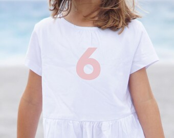 6 Decal - 6th Birthday - Sixth Birthday - 6 - 16 - 60 - 6th Birthday Shirt - Lovely Pink - Iron on Decal - Heat Transfer Number