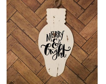 Rustic Christmas Light Ornament | Merry and Bright | Ornament | Christmas Ornament | Wood Ornament | Christmas Tree | Holiday Decor