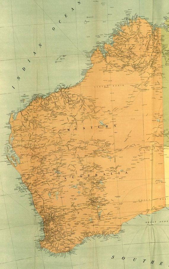 Australia 1916 western australia maps world map old world gumiabroncs Image collections