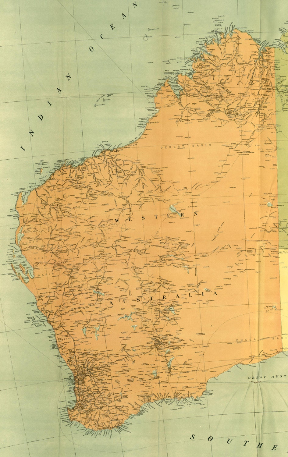 Australia 1916 western australia maps world map old world request a custom order and have something made just for you gumiabroncs Choice Image