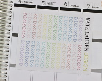 Light Pastel Heart Checklist Stickers for the Erin Condren Life Planner, Heart Checklists, Checklist Planner Stickers