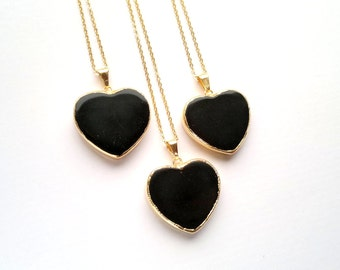 Black Heart Necklace Black Obsidian Necklace Obsidian Heart Pendant Gold Black Heart Necklace Heart Jewelry Balck Stone Necklace Mystic