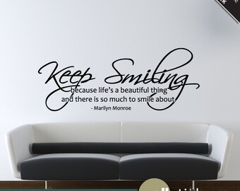 Marilyn Monroe Wall Decal Keep Smiling Quote Living Room Bedroom Decor Wd0133