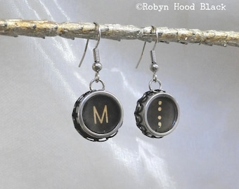 Typewriter Key Earrings Vintage  Letter M and Colon-Semicolon Keys